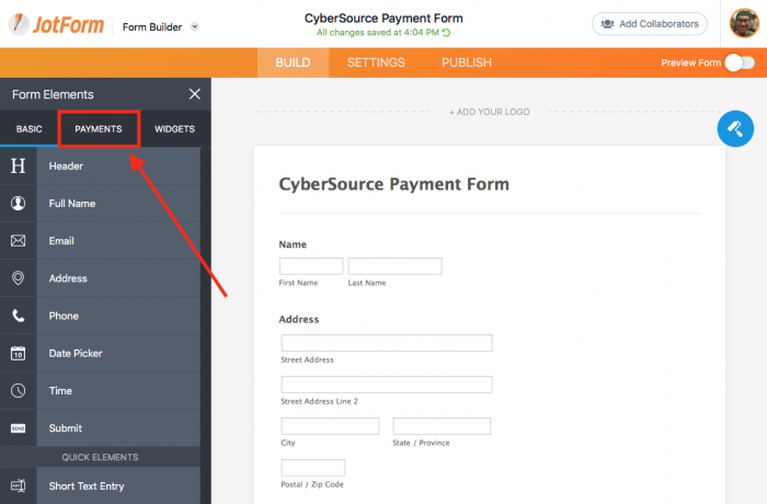 payments section in jotform form builder