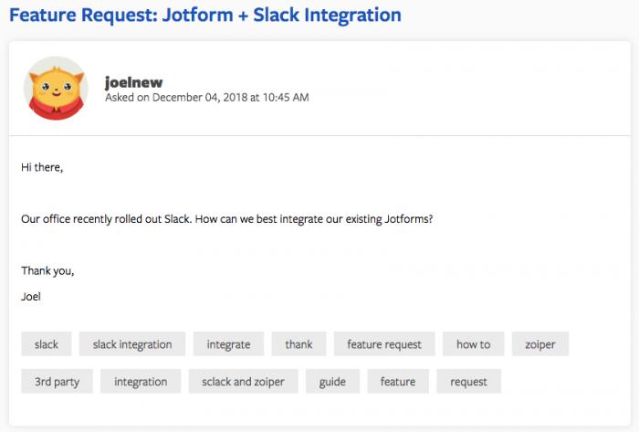 jotform slack integration request from user