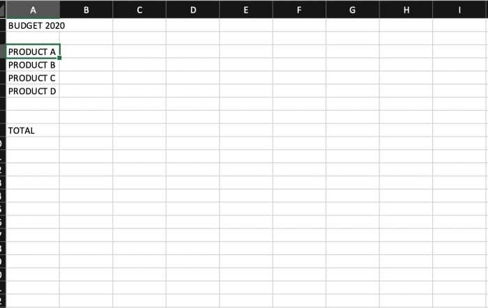 list of products in excel sheet