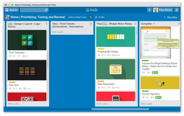 trello board widgets