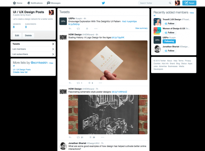 Twitter posts on design