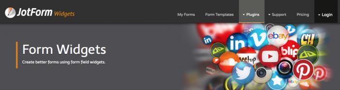 JotForm widget page