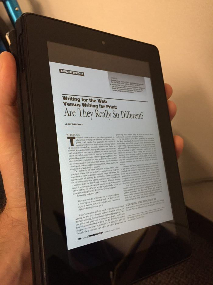reading article on kindle