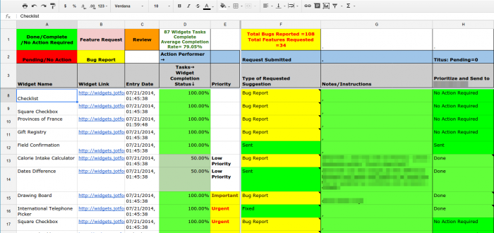 a tracking spreadsheet