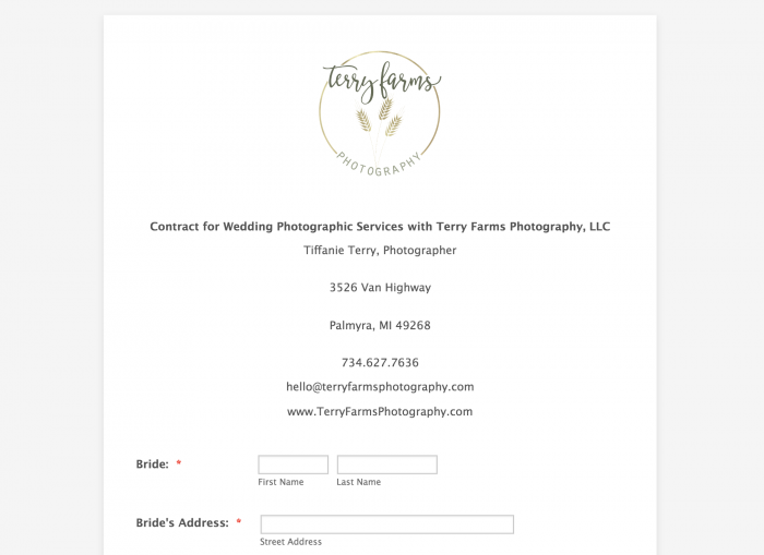 Sample contract for wedding photography form