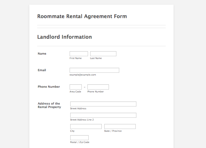 Sample roommate rental agreement form