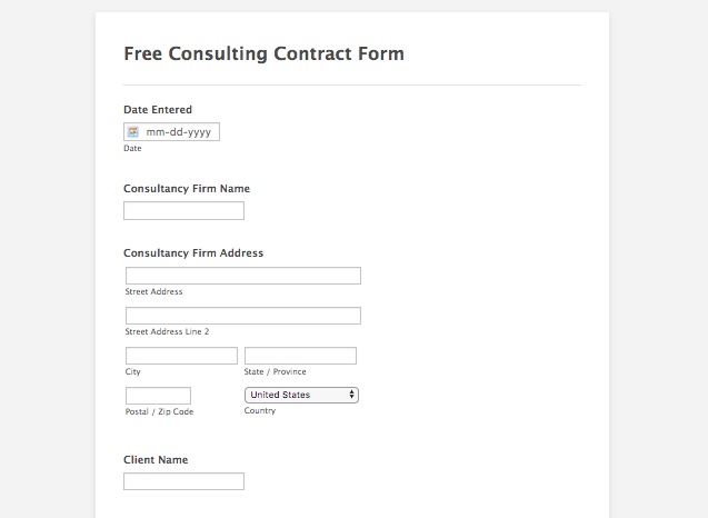 free consulting contract form