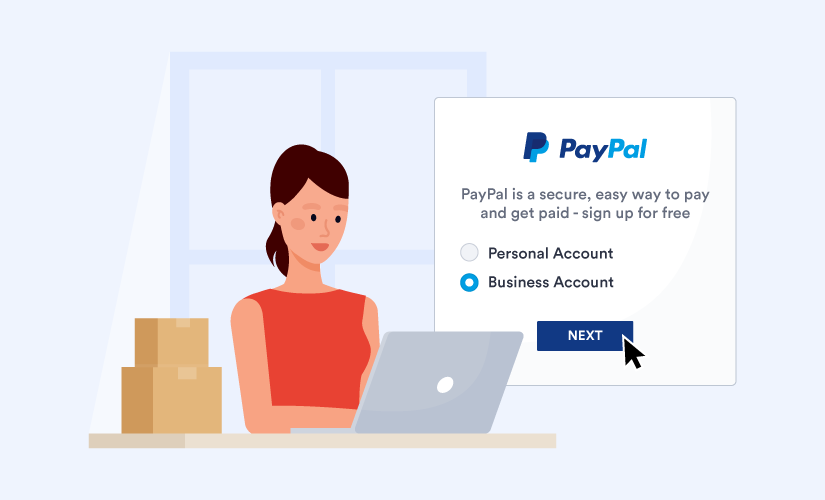 A small business owner setting up a PayPal business account