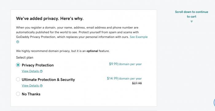 GoDaddy's privacy plan