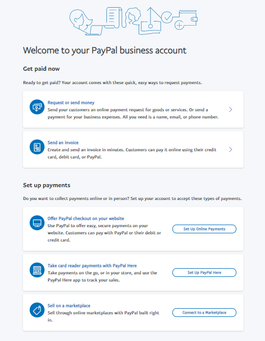 """welcome to your PayPal business account"" screen"