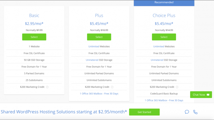 Pricing page of Bluehost