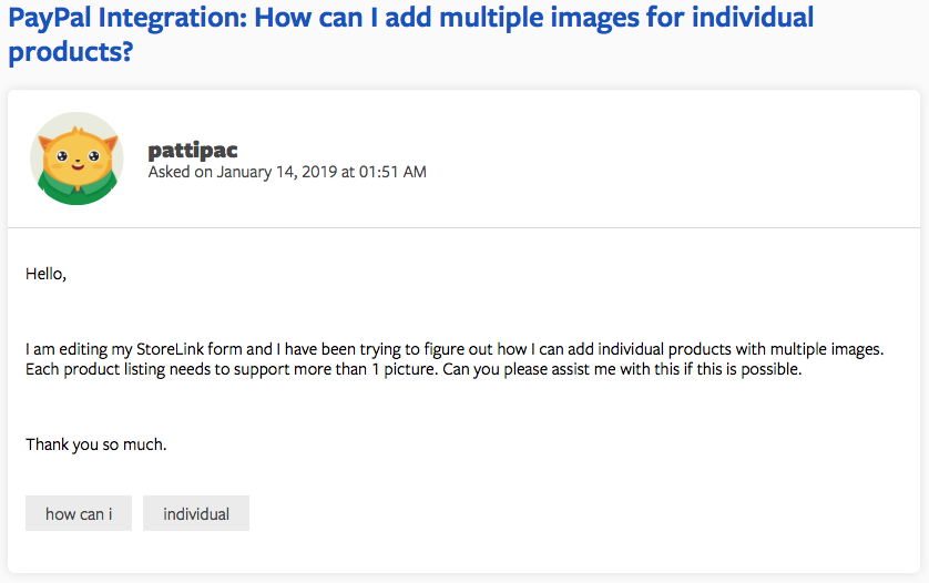 support question that asks how to add multiple images for individual products