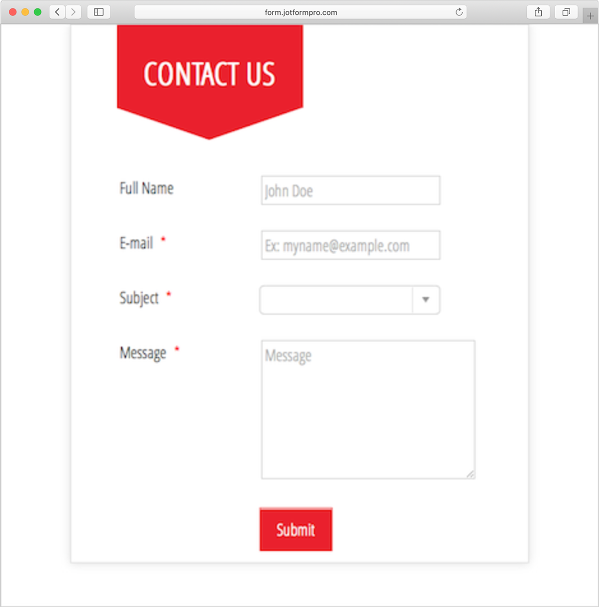 Contact Form - Red Theme