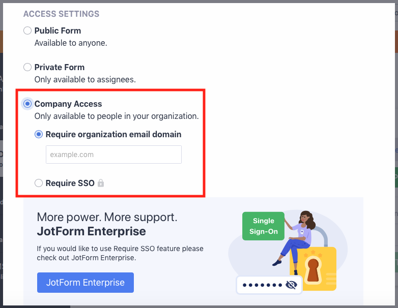 Setting form to company access