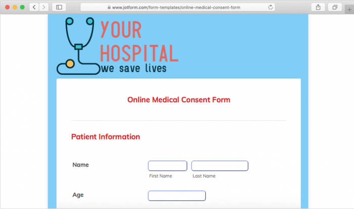 online medical consent form