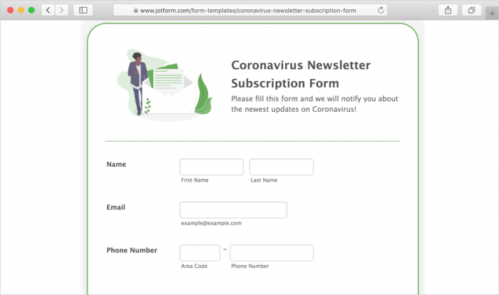 coronavirus newsletter subscription form