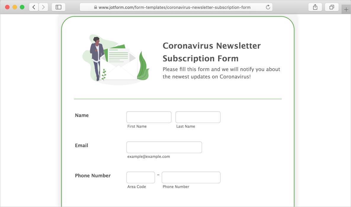 coronavirus newsletter subscription form