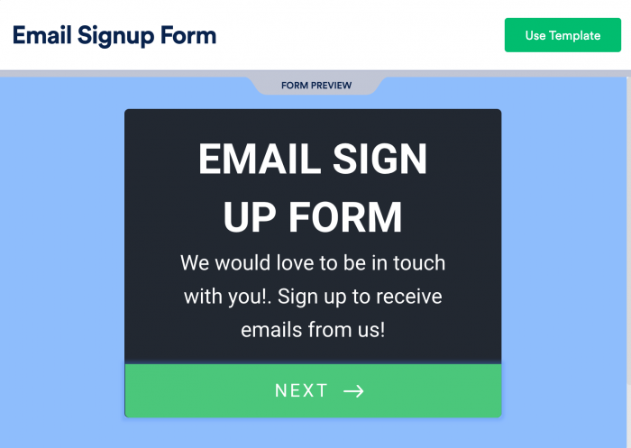an email sign up form