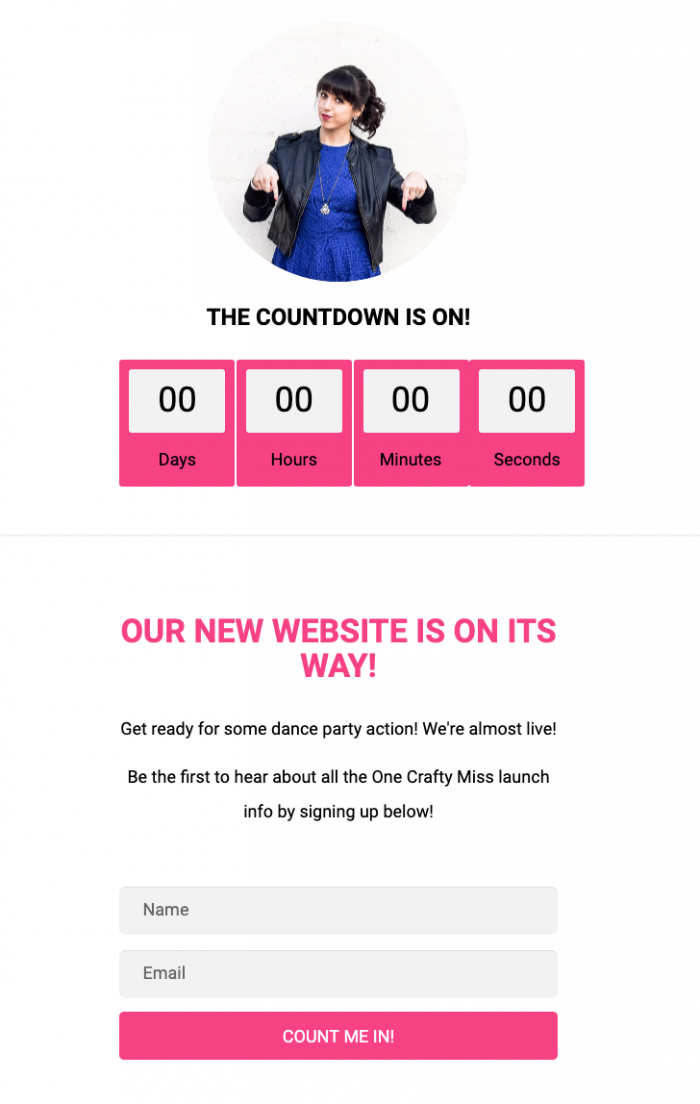 a countdown on a landing page that is to be released soon