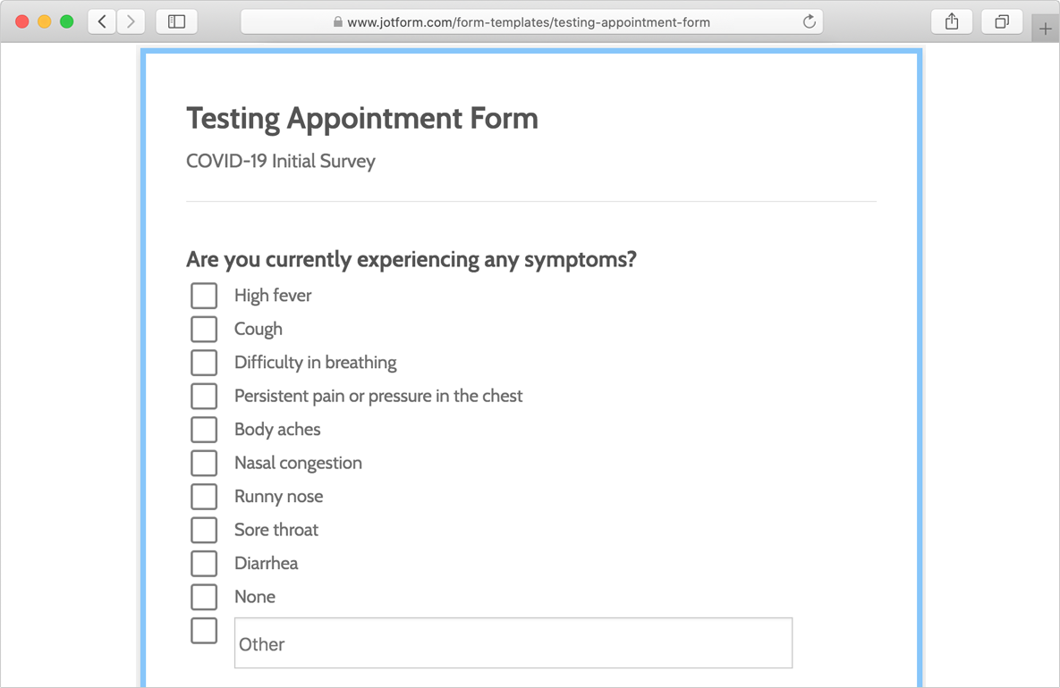 testing appointment form