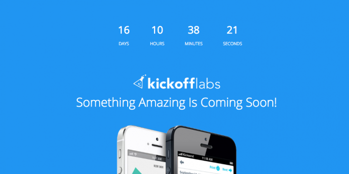 a simple coming soon page with a countdown, a logo, one sentence copy and a product image