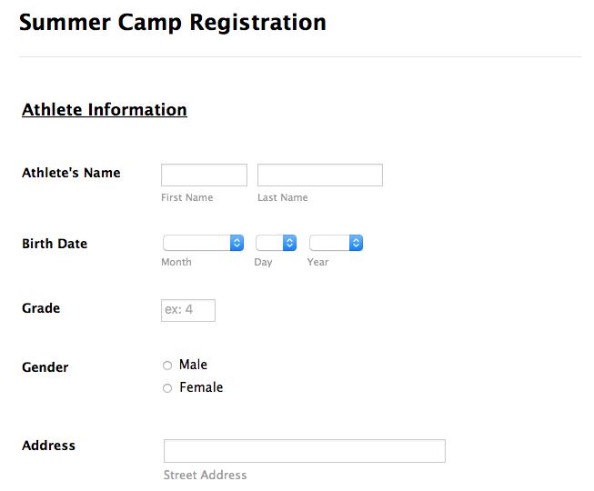 Summer camp detailed registration form template