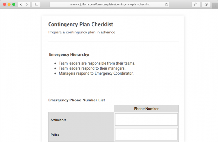contingency plan checklist