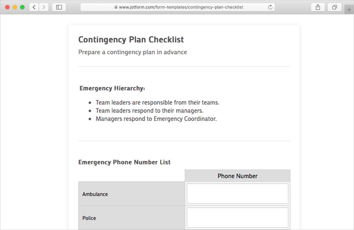 contingency plan checklist