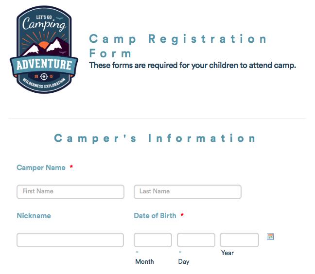 Summer camp registration template