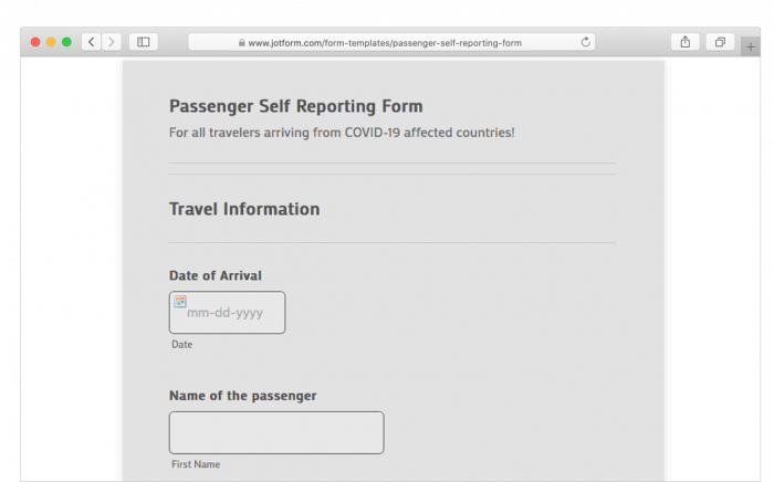 passenger self reporting form