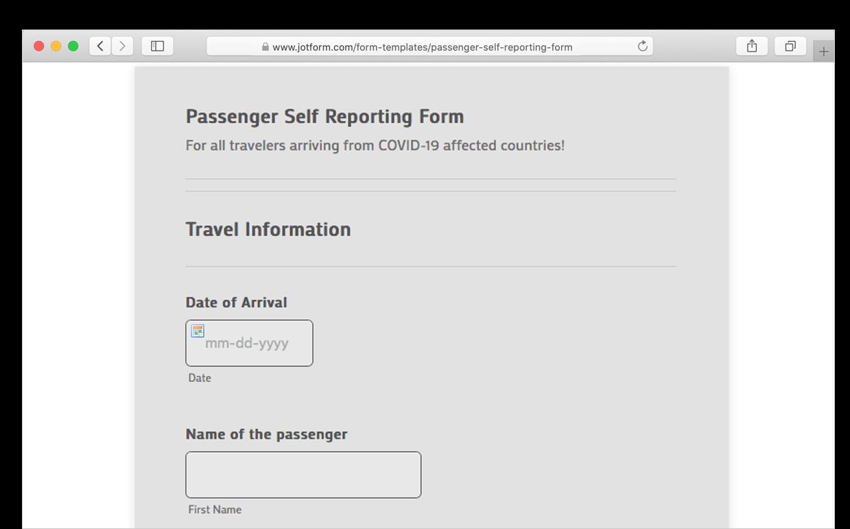 passenger self reporting form