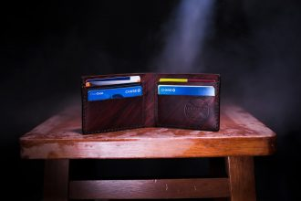 credit cards in leather purse