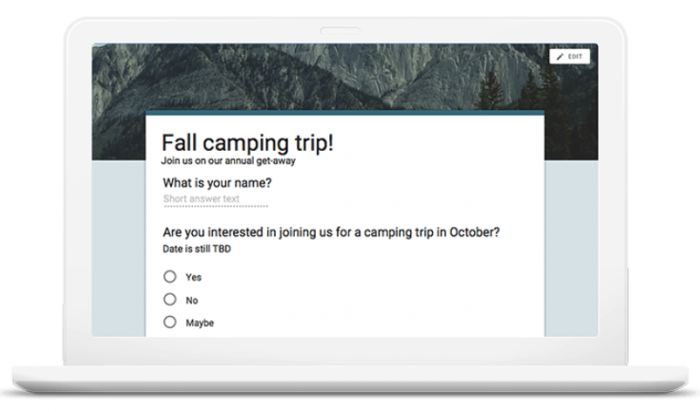 fall camping trip survey by Google Forms