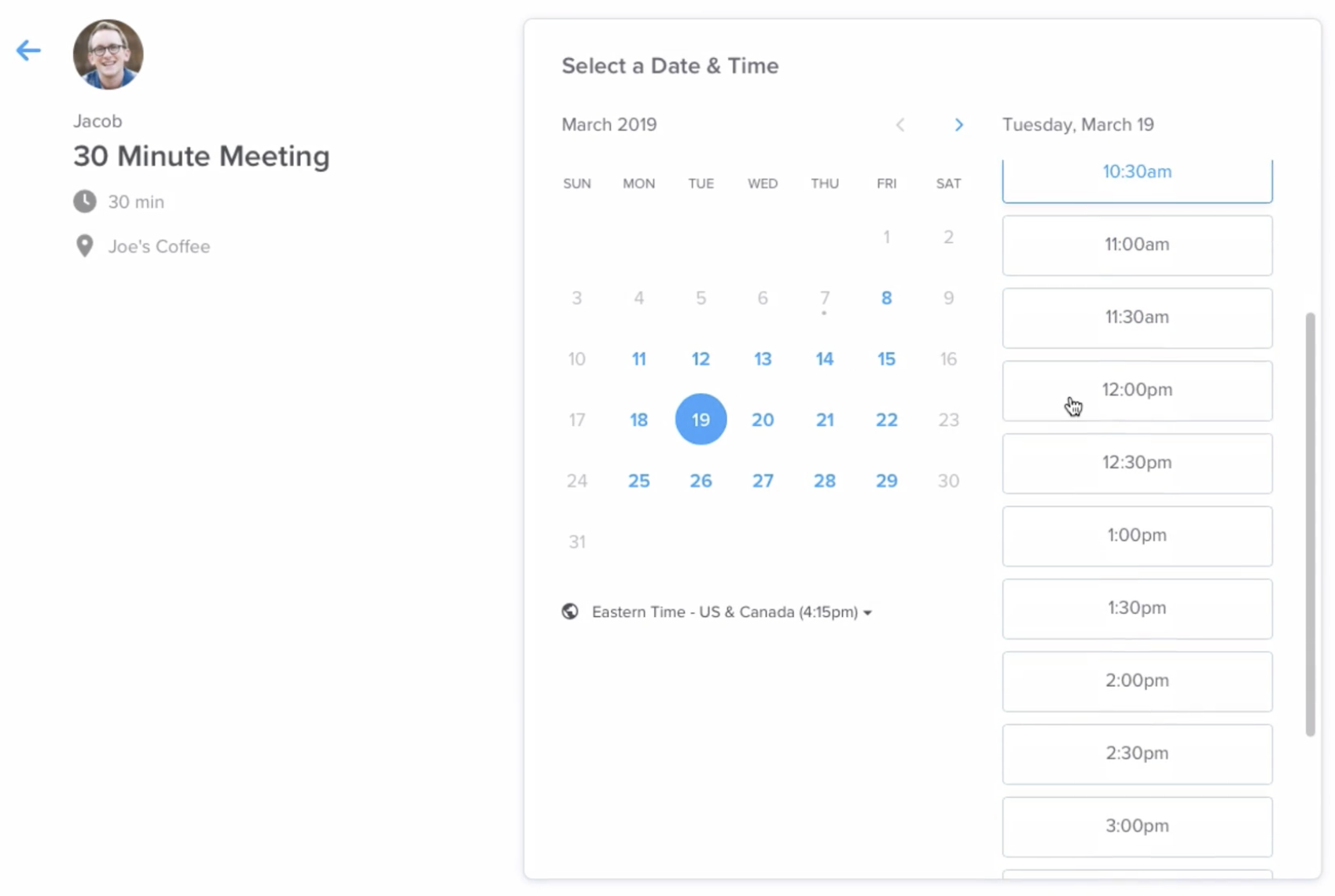booking a meeting on Calendly