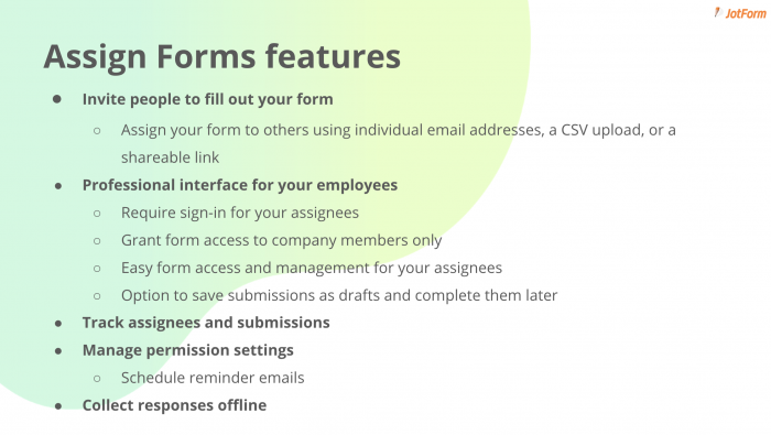 assign form features