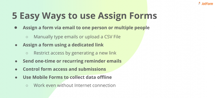 how to use assign forms