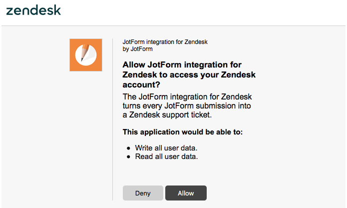 giving permission to the integration