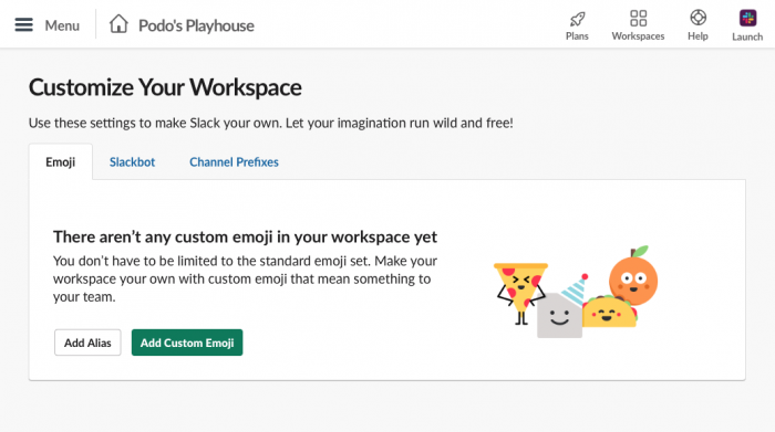 """customize your workspace"" screen"