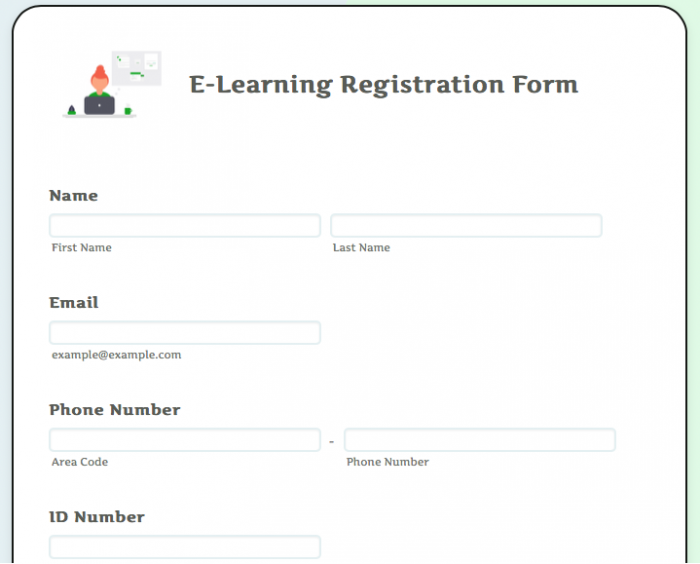 e-learning registration form template