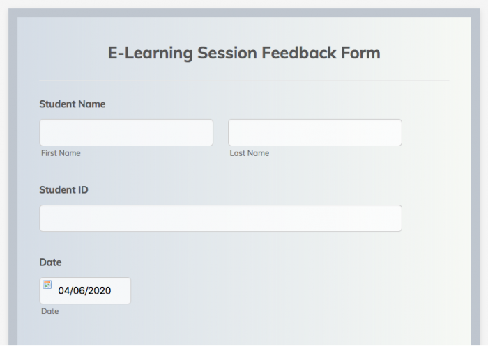 e-learning session feedback form template