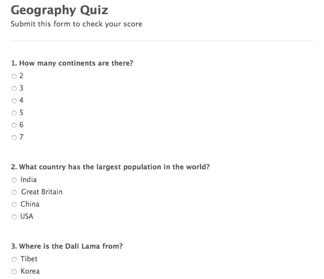 geography quiz form with a calculated number of correct answers template