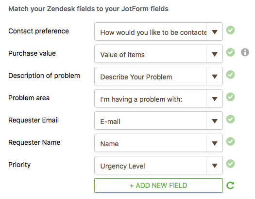 matching fields on Zendesk and JotForm