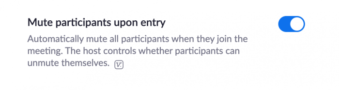"""enabling """"mute participants upon entry"""" option in Zoom"""