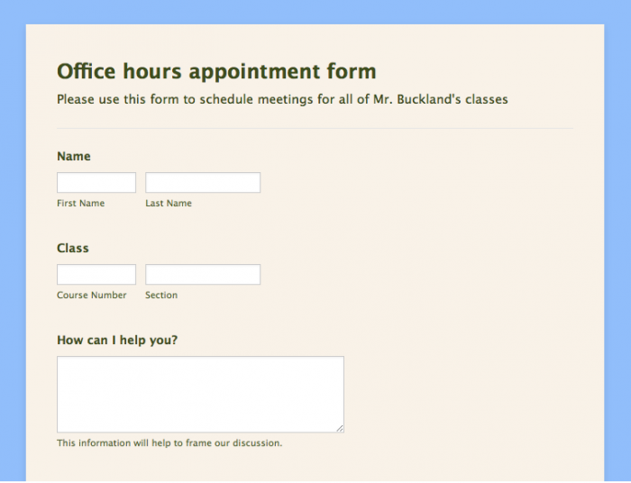 office hours appointment form template