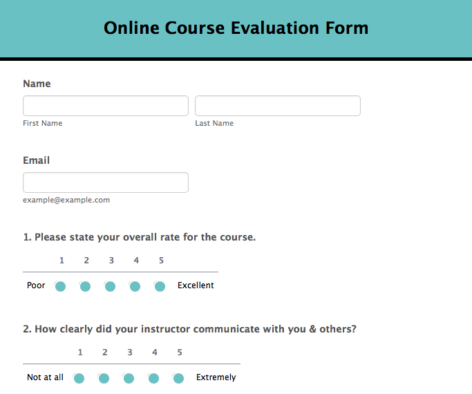 online course evaluation form template