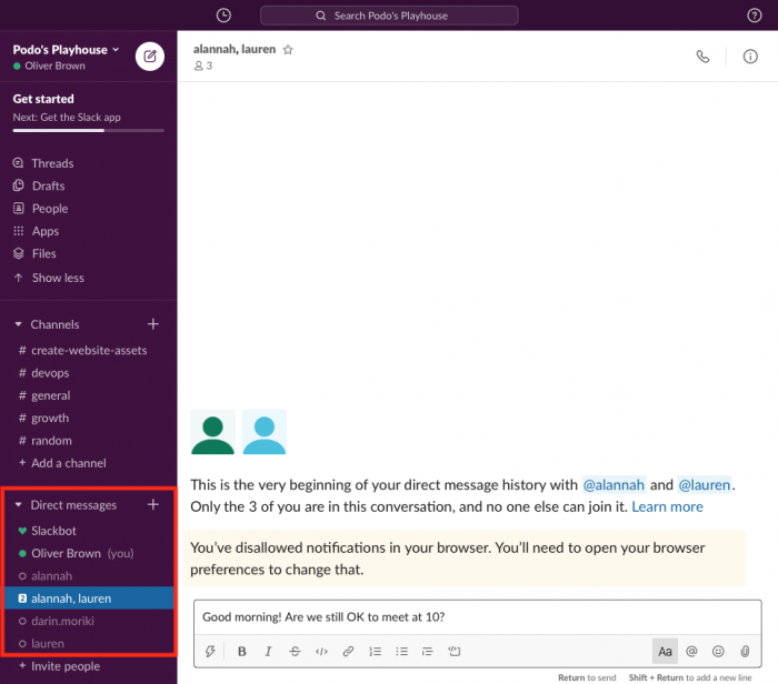 direct messages in slack