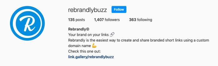 Rebrandly instagram account