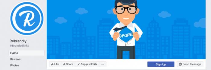 Rebrandly facebook account