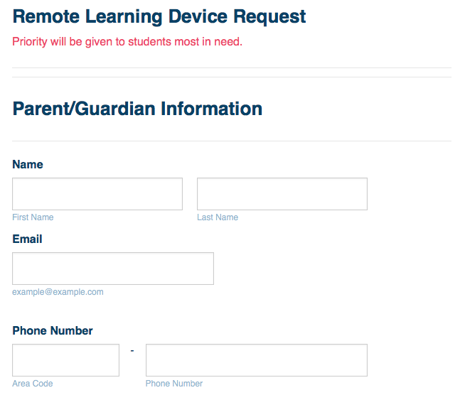 remote learning device request template