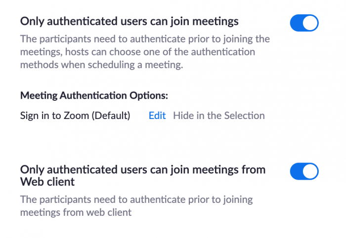 """switching on the """"Only authenticated users can join meetings"""" in Zoom"""